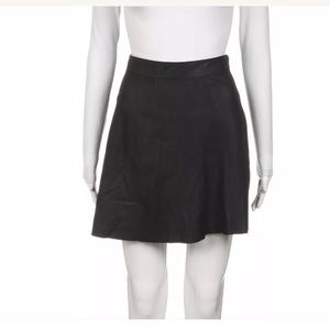 Joie Black genuine leather skirt a-line Large